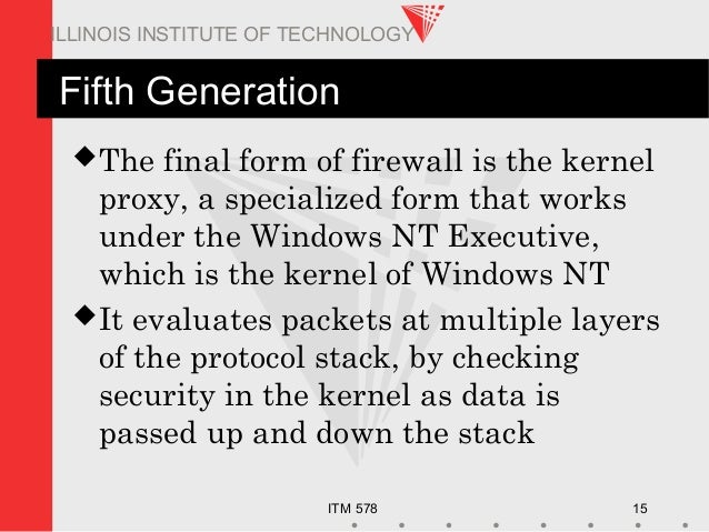 ITM 578 15 ILLINOIS INSTITUTE OF TECHNOLOGY Fifth Generation The final form of firewall is the kernel proxy, a specialize...
