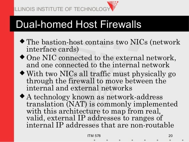ITM 578 20 ILLINOIS INSTITUTE OF TECHNOLOGY Dual-homed Host Firewalls  The bastion-host contains two NICs (network interf...