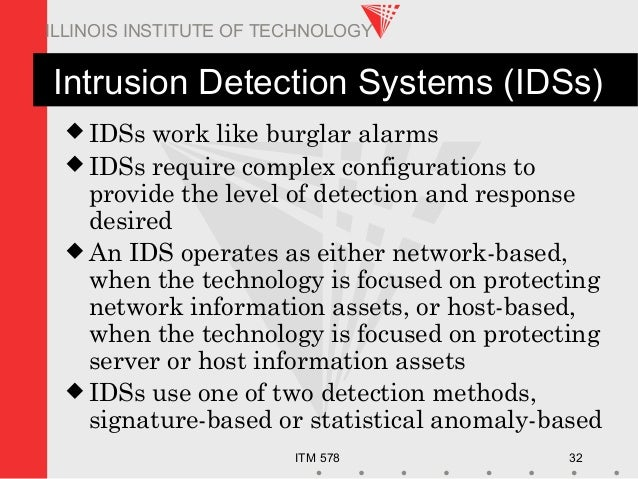ITM 578 32 ILLINOIS INSTITUTE OF TECHNOLOGY Intrusion Detection Systems (IDSs)  IDSs work like burglar alarms  IDSs requ...