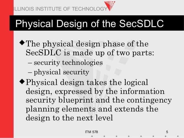 ITM 578 5 ILLINOIS INSTITUTE OF TECHNOLOGY Physical Design of the SecSDLC The physical design phase of the SecSDLC is mad...