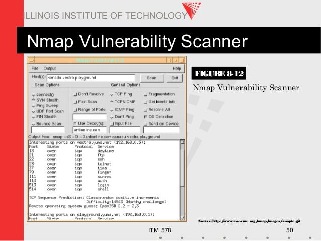 ITM 578 50 ILLINOIS INSTITUTE OF TECHNOLOGY Source:http://www.insecure.org/nmap/images/nmapfe.gif Nmap Vulnerability Scann...