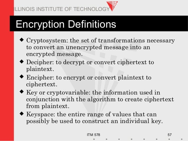 ITM 578 57 ILLINOIS INSTITUTE OF TECHNOLOGY Encryption Definitions  Cryptosystem: the set of transformations necessary to...