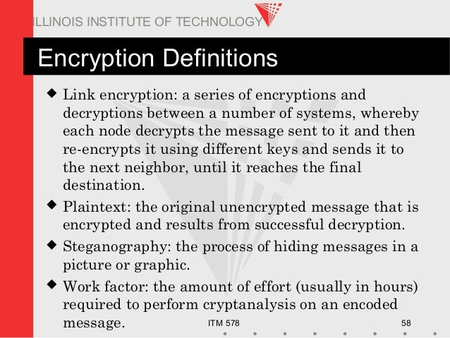 ITM 578 58 ILLINOIS INSTITUTE OF TECHNOLOGY Encryption Definitions  Link encryption: a series of encryptions and decrypti...