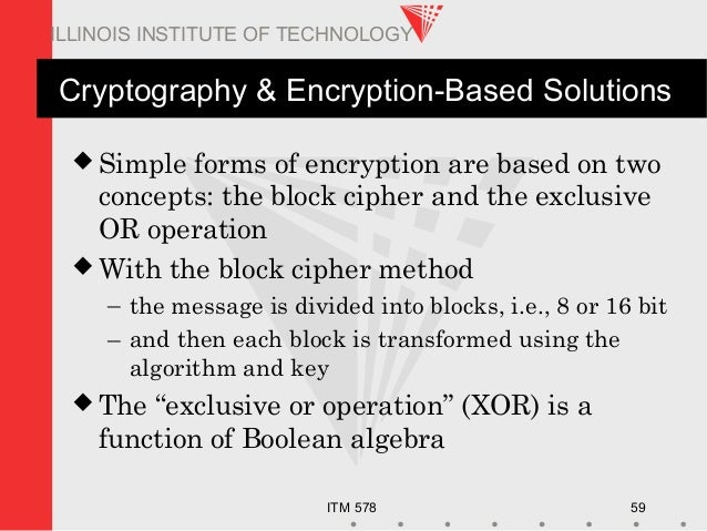 ITM 578 59 ILLINOIS INSTITUTE OF TECHNOLOGY Cryptography & Encryption-Based Solutions  Simple forms of encryption are bas...