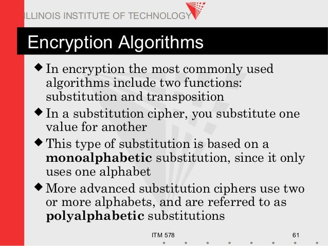 ITM 578 61 ILLINOIS INSTITUTE OF TECHNOLOGY Encryption Algorithms  In encryption the most commonly used algorithms includ...