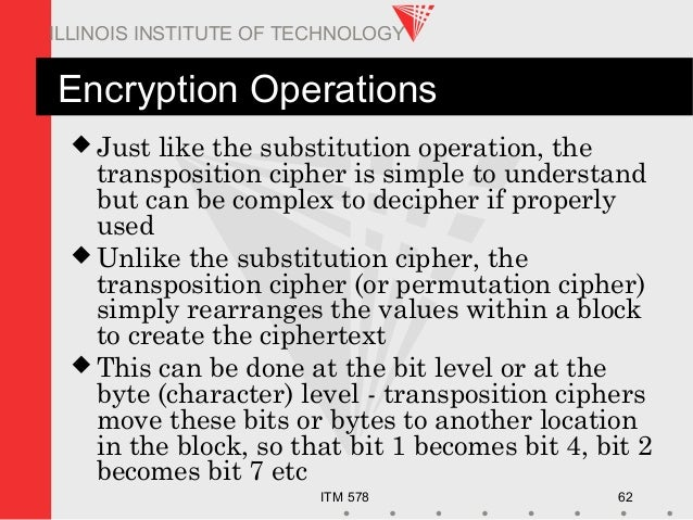 ITM 578 62 ILLINOIS INSTITUTE OF TECHNOLOGY Encryption Operations  Just like the substitution operation, the transpositio...