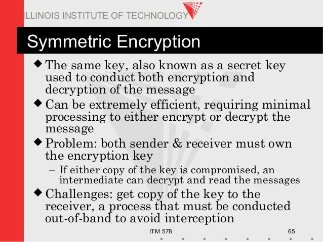 ITM 578 65 ILLINOIS INSTITUTE OF TECHNOLOGY Symmetric Encryption  The same key, also known as a secret key used to conduc...