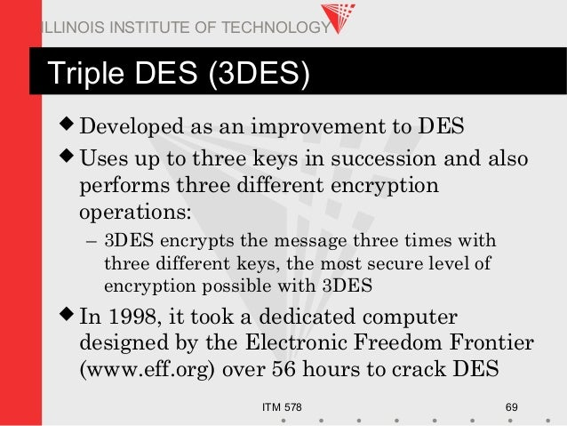 ITM 578 69 ILLINOIS INSTITUTE OF TECHNOLOGY Triple DES (3DES)  Developed as an improvement to DES  Uses up to three keys...