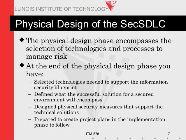 ITM 578 7 ILLINOIS INSTITUTE OF TECHNOLOGY Physical Design of the SecSDLC  The physical design phase encompasses the sele...