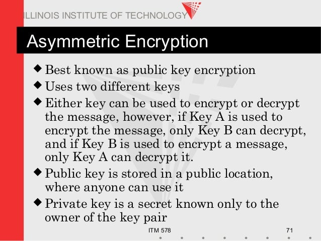 ITM 578 71 ILLINOIS INSTITUTE OF TECHNOLOGY Asymmetric Encryption  Best known as public key encryption  Uses two differe...