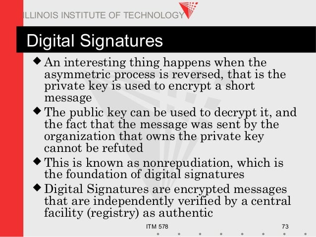 ITM 578 73 ILLINOIS INSTITUTE OF TECHNOLOGY Digital Signatures  An interesting thing happens when the asymmetric process ...