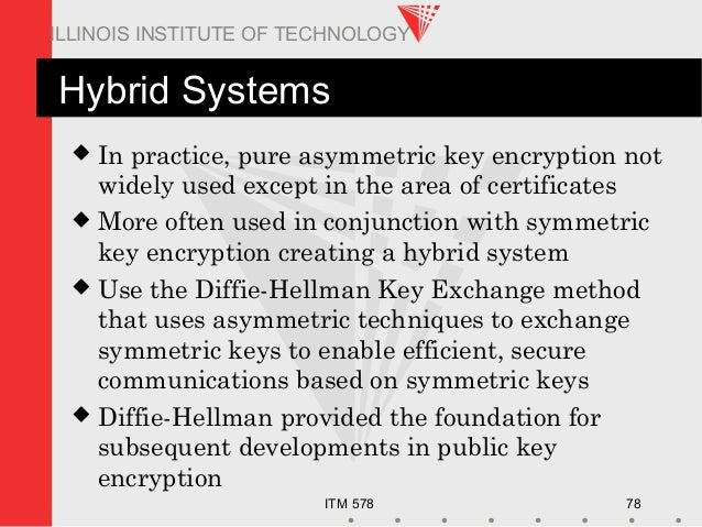 ITM 578 78 ILLINOIS INSTITUTE OF TECHNOLOGY Hybrid Systems  In practice, pure asymmetric key encryption not widely used e...