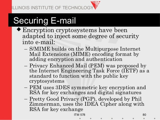 ITM 578 80 ILLINOIS INSTITUTE OF TECHNOLOGY Securing E-mail  Encryption cryptosystems have been adapted to inject some de...