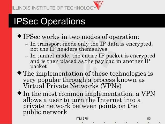 ITM 578 83 ILLINOIS INSTITUTE OF TECHNOLOGY IPSec Operations  IPSec works in two modes of operation: – In transport mode ...