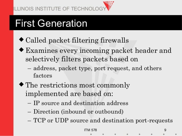 ITM 578 9 ILLINOIS INSTITUTE OF TECHNOLOGY First Generation  Called packet filtering firewalls  Examines every incoming ...