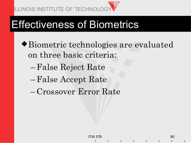 ITM 578 90 ILLINOIS INSTITUTE OF TECHNOLOGY Effectiveness of Biometrics Biometric technologies are evaluated on three bas...