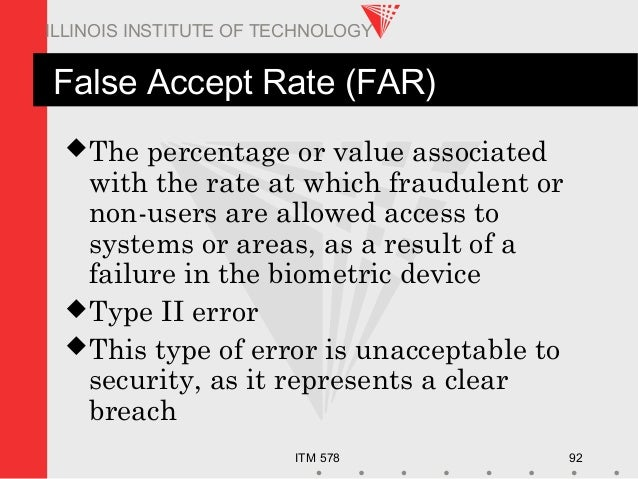 ITM 578 92 ILLINOIS INSTITUTE OF TECHNOLOGY False Accept Rate (FAR) The percentage or value associated with the rate at w...