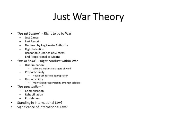 War in Iraq and Just War Theory