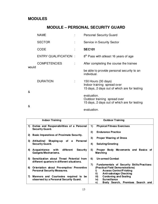 security guards training manual pdf