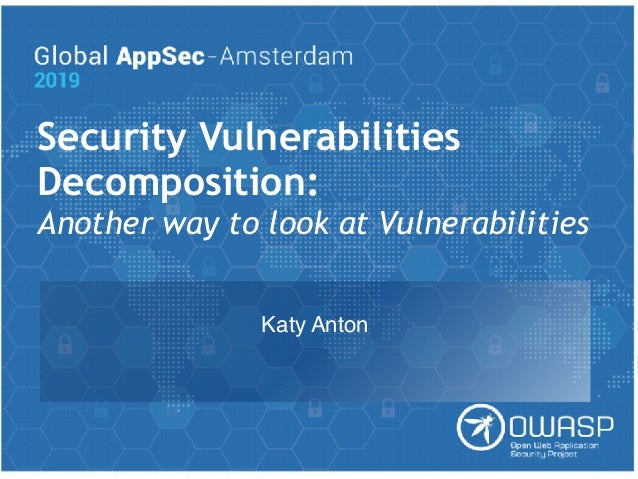 Security Vulnerabilities Decomposition: Another way to look at Vulnerabilities Katy Anton