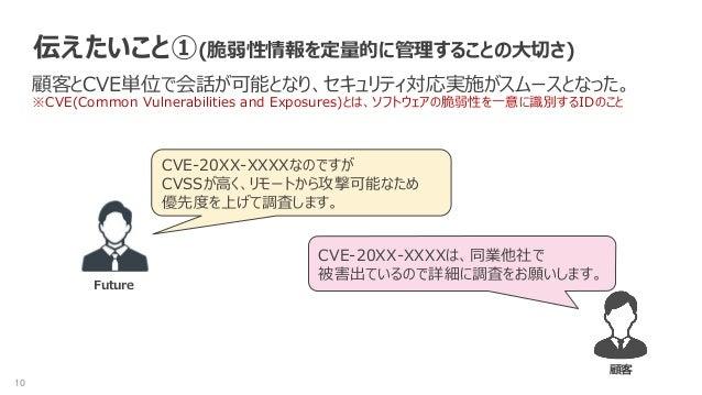 10 伝えたいこと①(脆弱性情報を定量的に管理することの大切さ) 顧客とCVE単位で会話が可能となり、セキュリティ対応実施がスムースとなった。 ※CVE(Common Vulnerabilities and Exposures)とは、ソフトウェ...