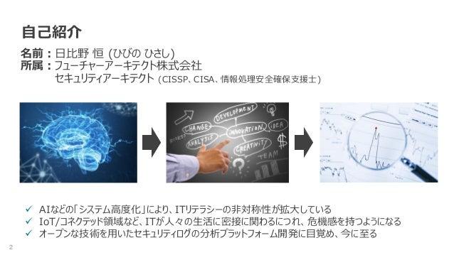 2 自己紹介 名前:日比野 恒 (ひびの ひさし) 所属:フューチャーアーキテクト株式会社 セキュリティアーキテクト (CISSP、CISA、情報処理安全確保支援士)  AIなどの「システム高度化」により、ITリテラシーの非対称性が拡大してい...