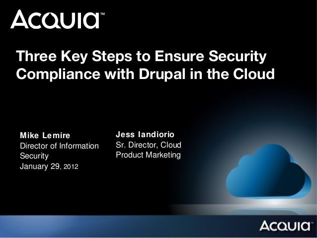 Three Key Steps to Ensure SecurityCompliance with Drupal in the CloudMike Lemire               Jess IandiorioDirector of I...