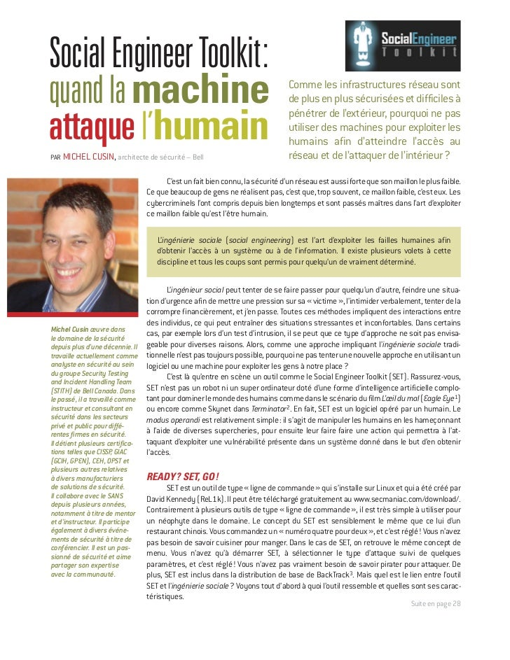 T EC H NIQU ESocial Engineer Toolkit:quand la machine                                                               Comme ...