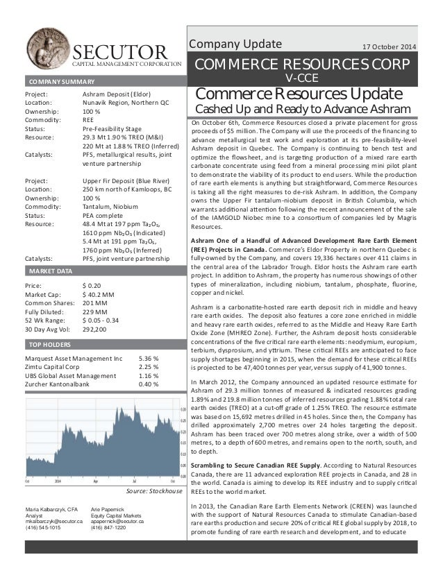 SECUTOR CAPITAL MANAGEMENT CORPORATION  17 October 2014  COMMERCE RESOURCES CORP  Commerce Resources Update  Cashed Up and...