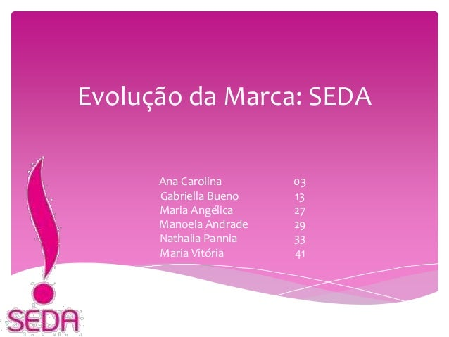 Evolução da Marca: SEDA Ana Carolina 03 Gabriella Bueno 13 Maria Angélica 27 Manoela Andrade 29 Nathalia Pannia 33 Maria V...