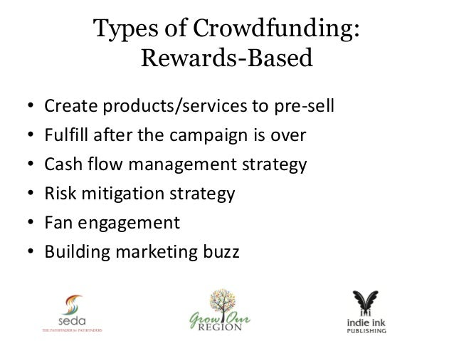 Types of Crowdfunding: Rewards-Based • Create products/services to pre-sell • Fulfill after the campaign is over • Cash fl...