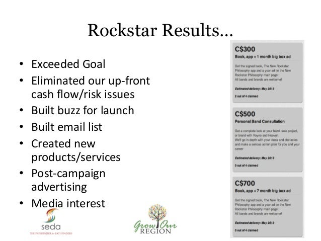 Rockstar Results… • Exceeded Goal • Eliminated our up-front cash flow/risk issues • Built buzz for launch • Built email li...