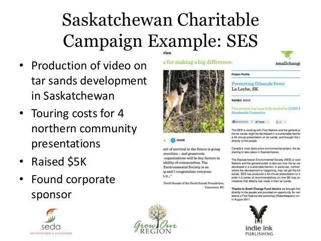 Saskatchewan Charitable Campaign Example: SES • Production of video on tar sands development in Saskatchewan • Touring cos...