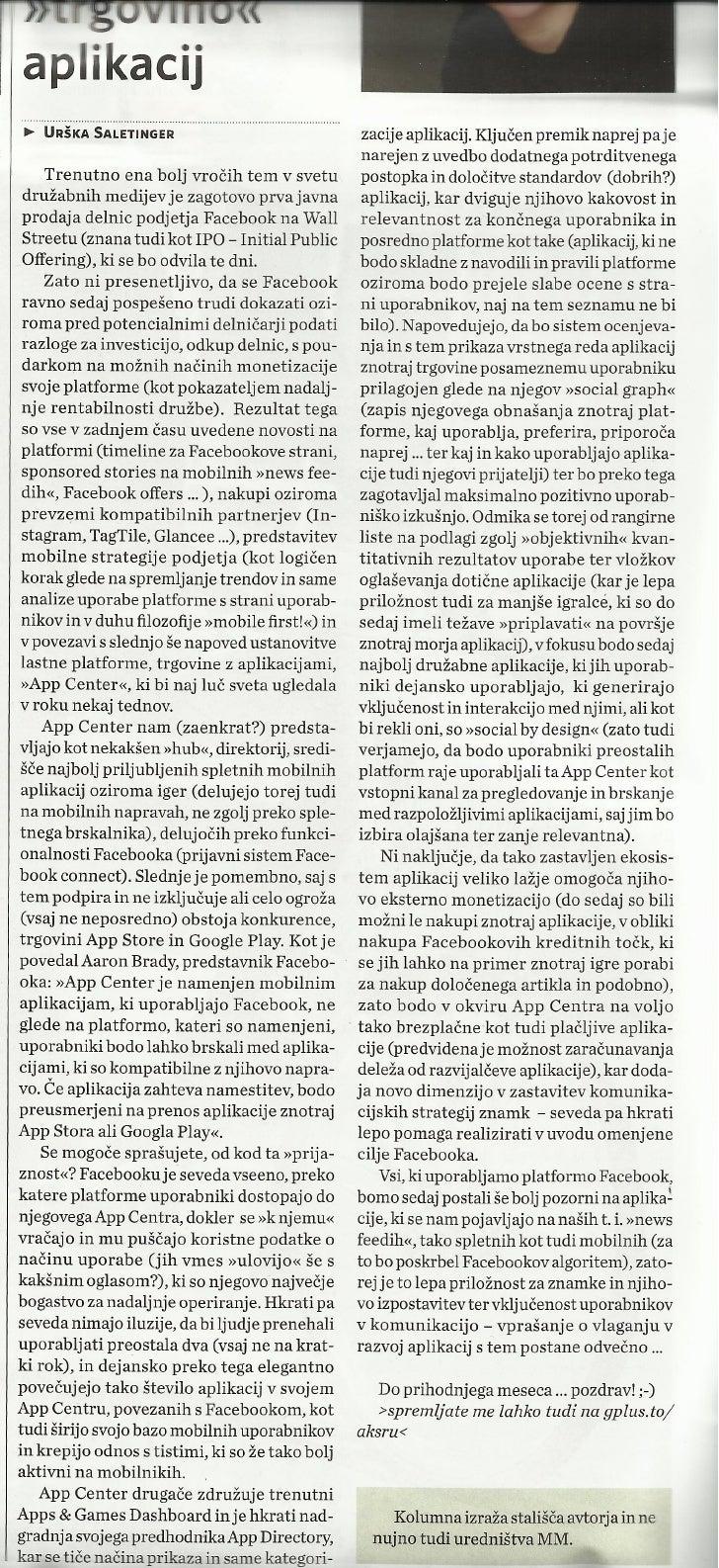 """Sedaj tudi Facebook s svojo """"trgovino"""" aplikacij._Marketing Magazin_jun2012_st.373_str.18"""
