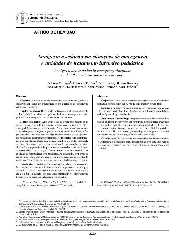 ARTIGO DE REVISÃO S223 0021-7557/03/79-Supl.2/S223 Jornal de Pediatria Copyright © 2003 by Sociedade Brasileira de Pediatr...