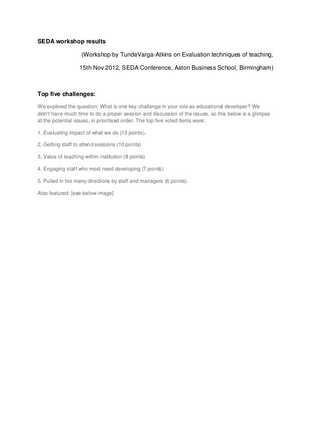 SEDA workshop results                    (Workshop by TundeVarga-Atkins on Evaluation techniques of teaching,             ...