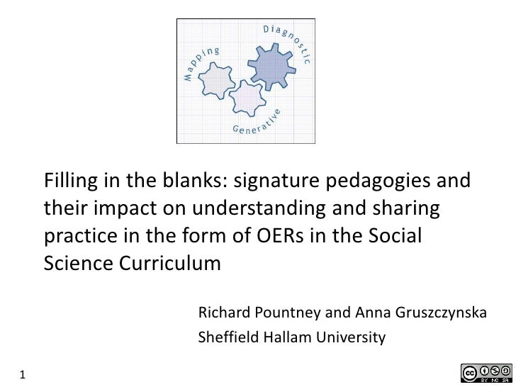 Filling in the blanks: signature pedagogies and    their impact on understanding and sharing    practice in the form of OE...