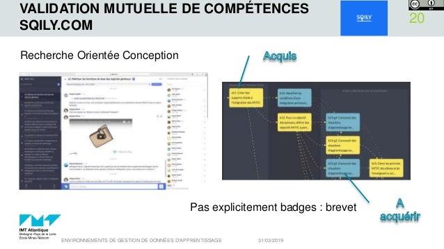 VALIDATION MUTUELLE DE COMPÉTENCES SQILY.COM 31/03/2019ENVIRONNEMENTS DE GESTION DE DONNÉES D'APPRENTISSAGE 20 Recherche O...