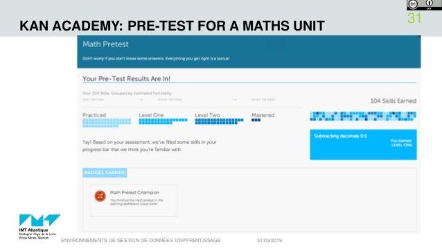KAN ACADEMY: PRE-TEST FOR A MATHS UNIT 31/03/2019ENVIRONNEMENTS DE GESTION DE DONNÉES D'APPRENTISSAGE 31