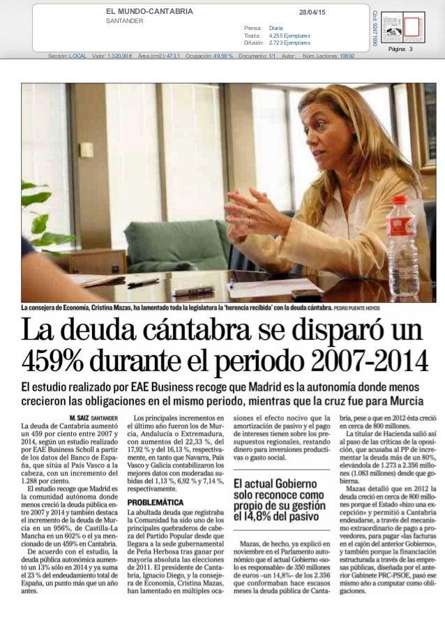 28/04/15EL MUNDO-CANTABRIA SANTANDER Prensa: Diaria Tirada: 4.255 Ejemplares Difusión: 2.723 Ejemplares Página: 3 Sección:...