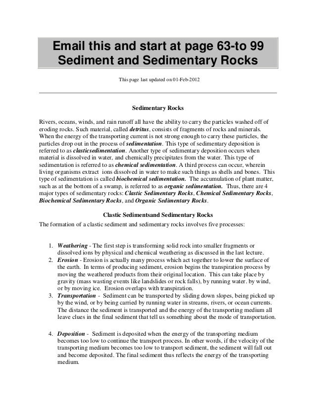 Email this and start at page 63-to 99 Sediment and Sedimentary Rocks This page last updated on 01-Feb-2012 Sedimentary Roc...