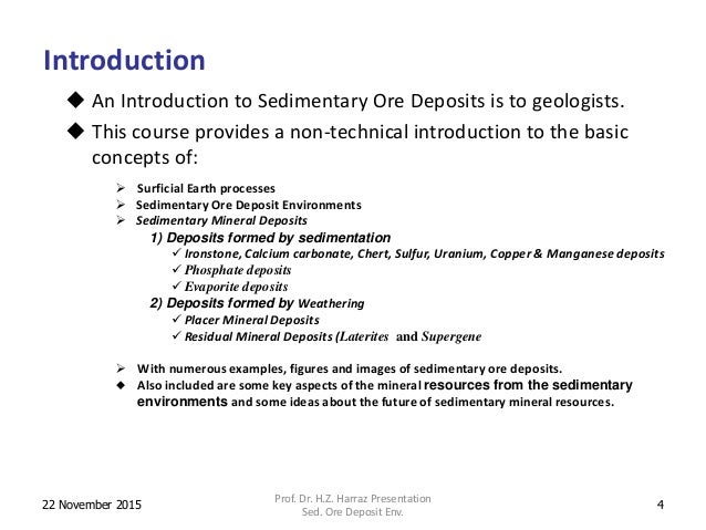 Types of ore deposits.