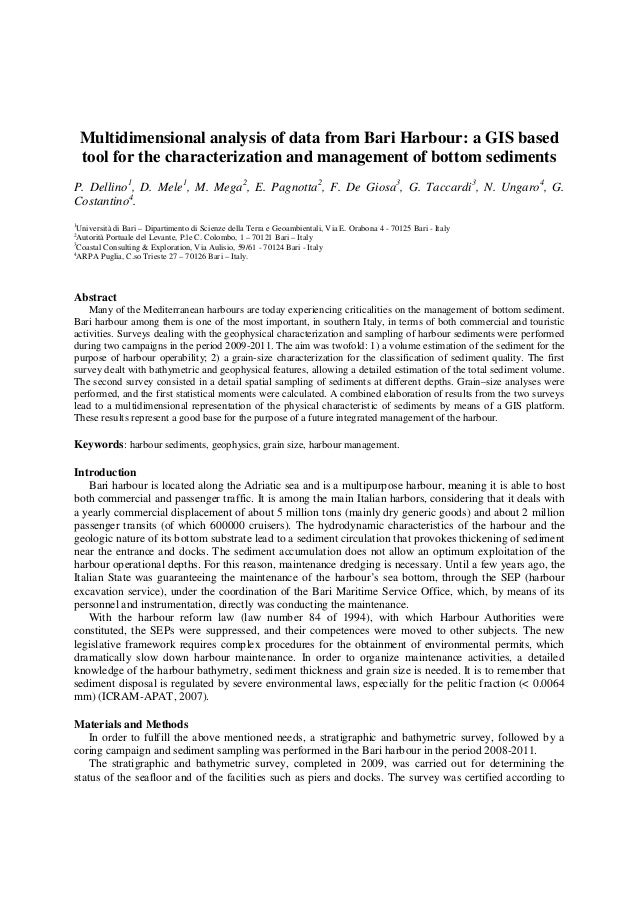 Multidimensional analysis of data from Bari Harbour: a GIS based    tool for the characterization and management of bottom...