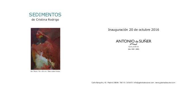 SEDIMENTOS de Cristina Rodrigo Inauguración 20 de octubre 2016 Calle Barquillo, 43. Madrid 28004. Telf. 91 3191671 info@ga...