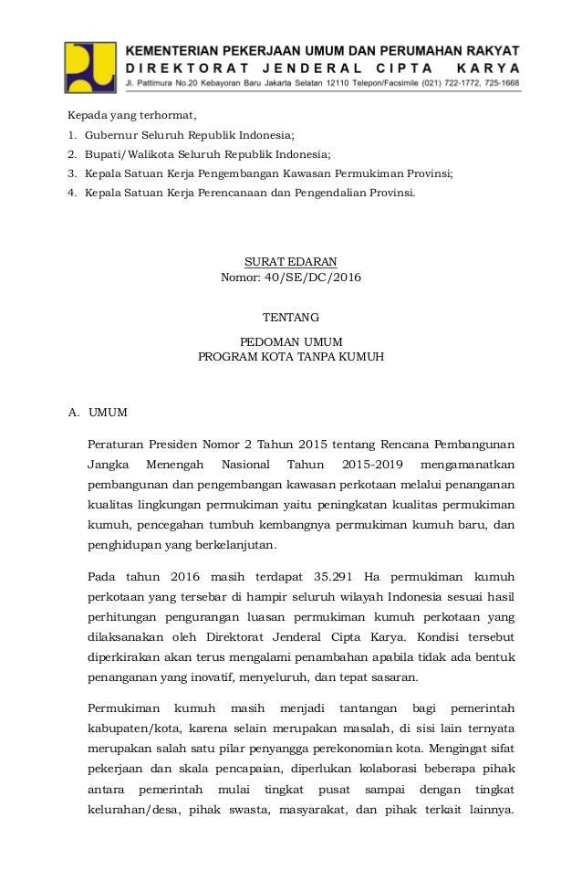 Surat Edaran Dirjen Cipta Karya no.40 Tahun 2016 Pedoman ...