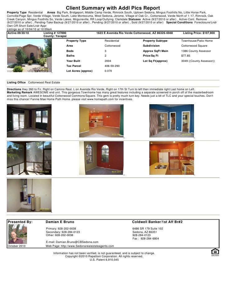 Client Summary with Addl Pics Report Property Type Residential       Areas Big Park, Bridgeport, Middle Camp Verde, Rimroc...