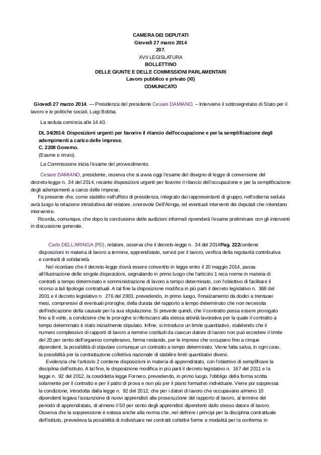 Seduta commissione lavoro 27 marzo2104 for Commissione lavoro camera