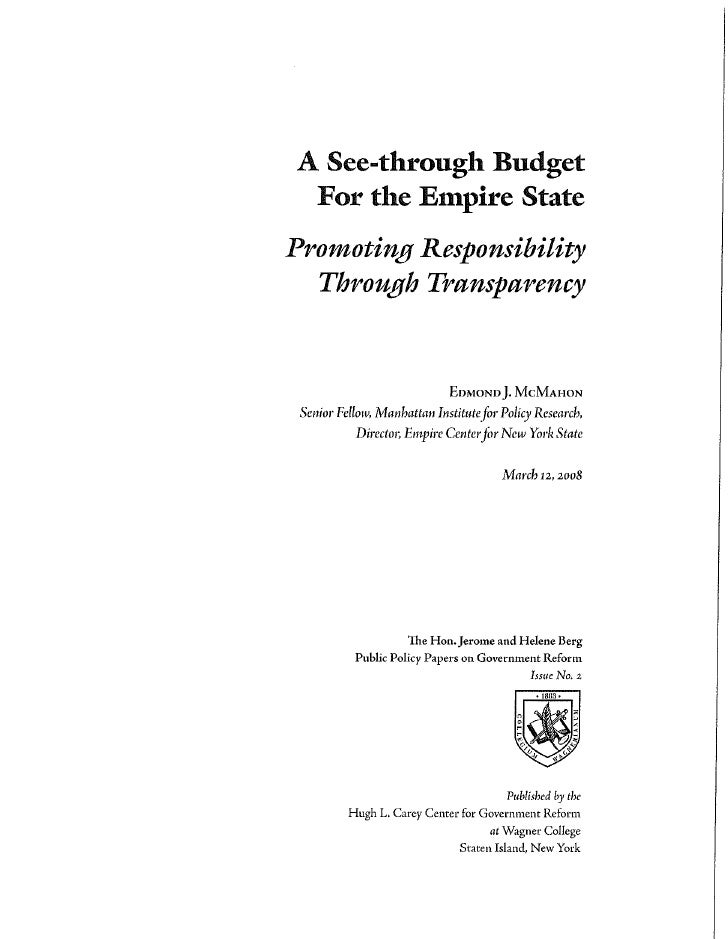 A See-Through Budget for the Empire State