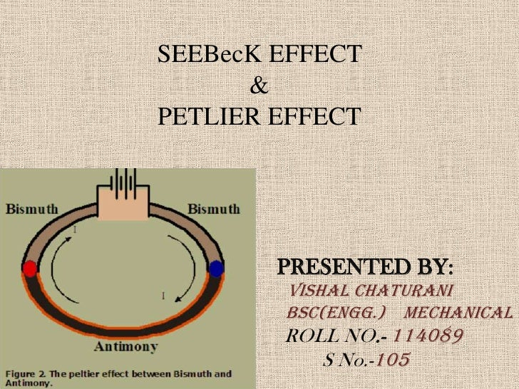 SEEBecK EFFECT      &PETLIER EFFECT        PRESENTED BY:        VISHAL CHATURANI        BSc(Engg.) MECHANICAL        ROLL ...