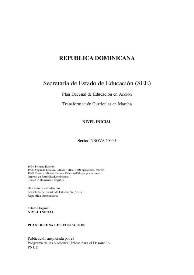 REPUBLICA DOMINICANA            Secretaría de Estado de Educación (SEE)                            Plan Decenal de Educaci...
